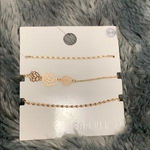 Forever 21 Flower Bracelet Set